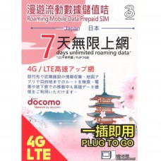NTT Docomo Japan 4G 7-days Unlimited Data Card by 3 HK