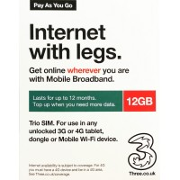 3UK 4G/3G Pay As You Go Multi-Country 12 months 12GB Data Prepaid SIM