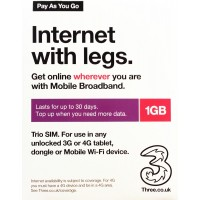 3UK 4G/3G Pay As You Go Multi-Country 30 Days 1GB Data SIM