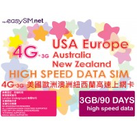 easySIM 4G/3G Multi-Country 90 Days 3GB Data SIM
