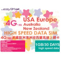 easySIM 4G/3G Multi-Country 30 Days 1GB Data Prepaid SIM