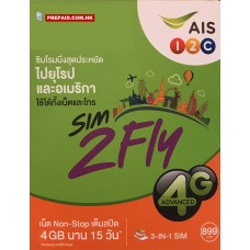 AIS Europe USA Asia SIM2FLY 4GB 4G 15 Days Unlimited Data Card