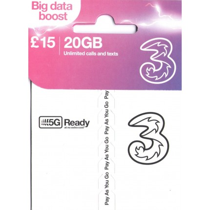 3UK 5G/4G/3G New Pay As You Go Prepaid SIM (No Stored Value)