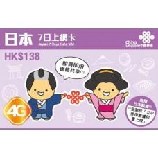 Unicom Hong Kong 4G Japan 7 days Unlimited Data SIM